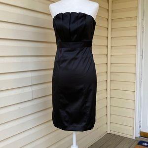 The Limited black satin strapless dress NWOT Sz 0